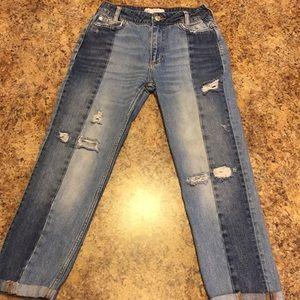 Free People distressed crop boyfriend jeans. W 34